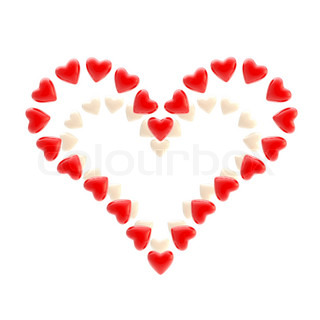 Valentine symbol made of bright glossy hearts isolated on white