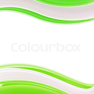 Wavy light green and white glossy bright design template, background