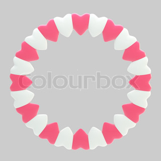Circular frame border made of hearts isolated on grey