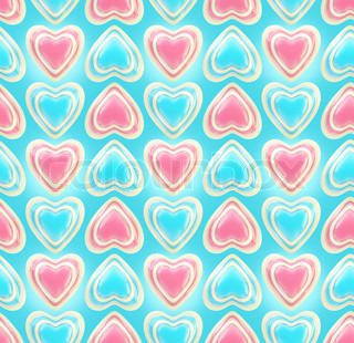 Seamless background texture made of bright glossy love hearts