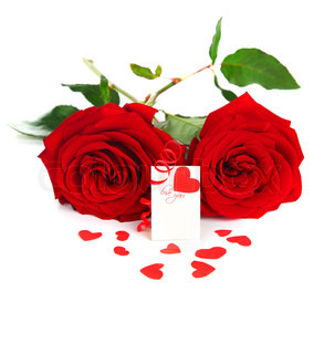 Blank card with red heart & roses isolated on white background, conceptual image of love & Valentine's day holiday