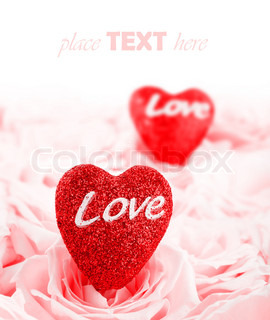 Pink fresh roses background with red hearts & copyspace, love concept