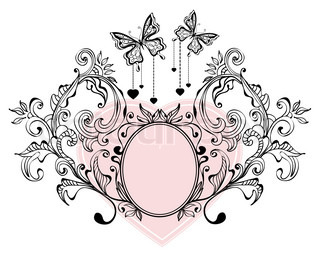 Floral Valentine background with butterflies