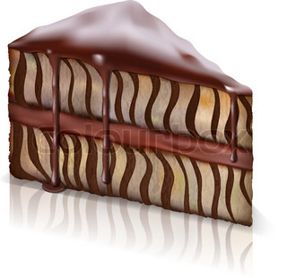piece of sponge cake with chocolate flowing down