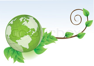 Vector globe with leaves