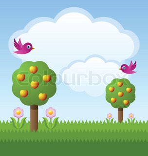 Idyllic fruit garden with trees, flowers, birds and clouds