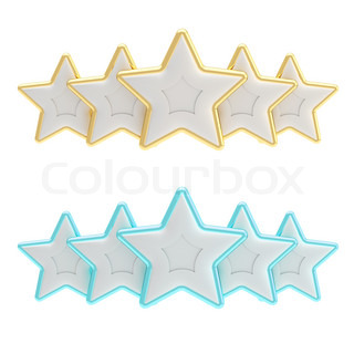 Five star rating composition made of silver dolg and blue stars isolated on white