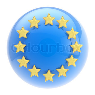 European Union symbol: blue glossy sphere and golden stars isolated on white