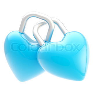 Two linked blue heart shaped glossy locks isolated on white