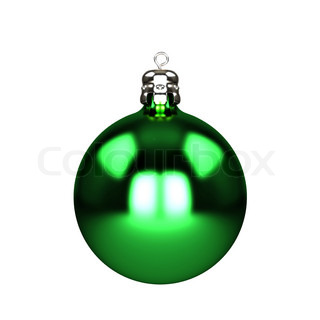 Green christmas decorations baubles isolated on white