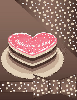 Pink cake with chocolate and hearts on valentine card