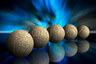 five hay spheres on abstract dark blue background