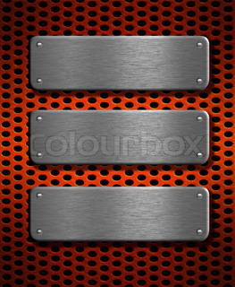 three metal plates over red grid background