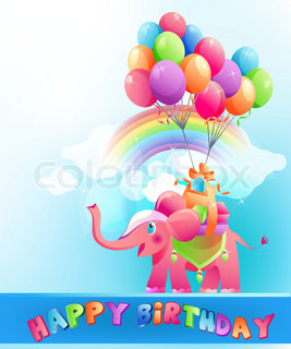 Happy birthday festive background with pink elephant and  multicolored air balloons.