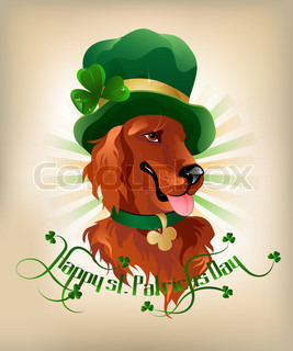 Happy st. Patrickes Day background with Irish setter and text.