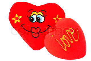 Two red plush heart as funny faces and words love