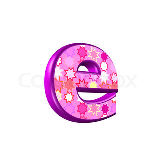 3d pink letter isolated on a white background - e