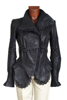 Female leather jacket and trousers on a white background