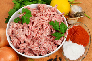 forcemeat with spices on a table