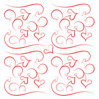 Abstract background from hearts and scrolls