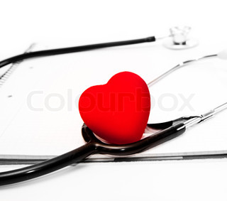 stethoscope and a red heart over a white background