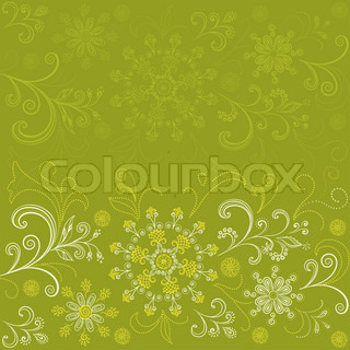 Abstract green and yellow background with floral pattern