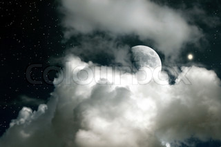 Moon on a background of the star sky and clouds