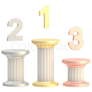 Winner pillars: first, second, third places as columns isolated on white