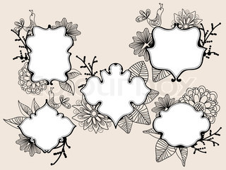 Set of beautiful labels with floral elements and bird