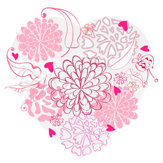 Beautiful floral heart, illustration