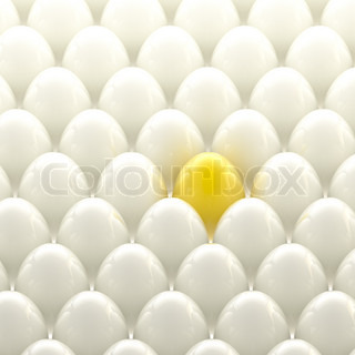 Individuality background: golden egg among usual white eggs