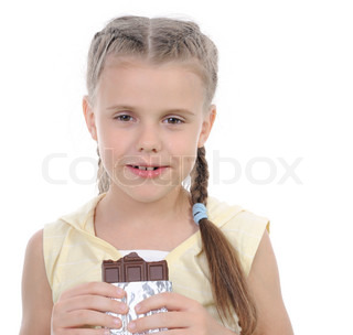 girl eating chocolate Isolated on white background