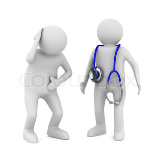 doctor and patient on white background