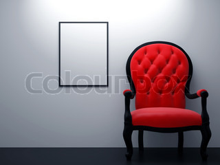 High resolution image interior Armchair near a wall in a white room