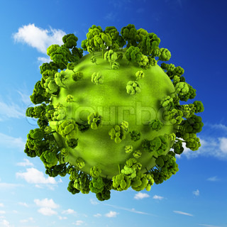 small green planet. Isolated 3d rendering
