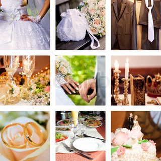 Collage with bridegroom and bride in different situations