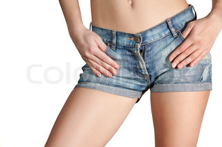 sexy woman body in blue jean shorts