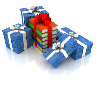 gift boxes and books, bandaged by ribbon, on a white background
