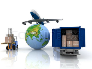 airliner with a globe and auto loader with boxes