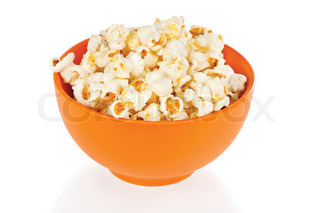 Popcorn in a orange bowl on white background