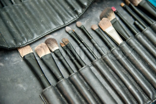 Set of make-up brushes in a tool bag