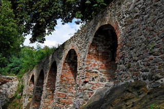 Red brick arches of medieval castle in Schallaburg, Austria
