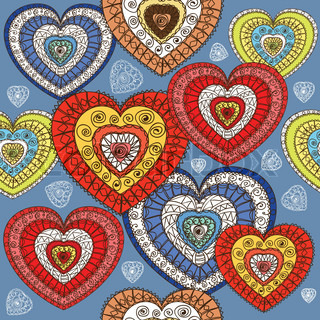 Ornamented color hearts seamless background