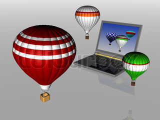 Hot air balloons take off from the screen of laptop Unity 3d charts and the real world