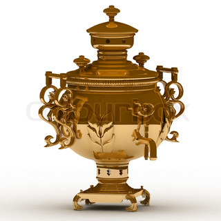 Old copper samovar isolated on a white background