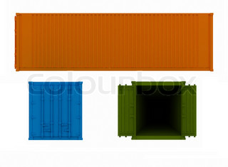 projections of open and closed container on a white background