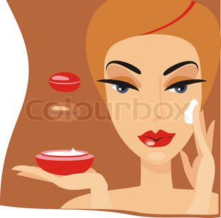 The woman with a cream jar in hands puts a cream on the face