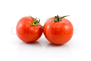 Pair of ripe red tomatoes isolated on the white background