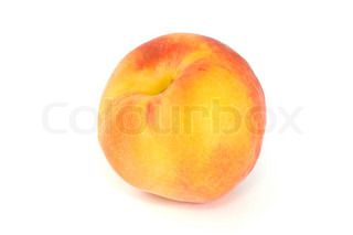 Single orange peach isolated on the white background