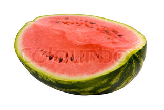 Half of ripe watermelon isolated over white background